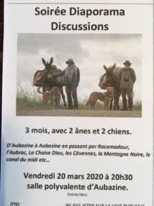 3 mois avec 2 ânes et 2 chiens: échanges à Aubazine avant le grand départ @ salle polyvalente, Aubazine